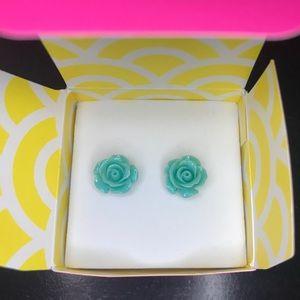 Origami Owl Agua Rose stud earrings